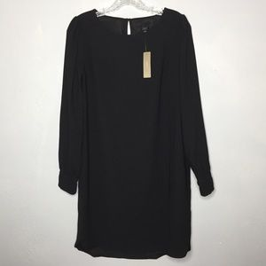 J.Crew Long-sleeve shift dress everyday crepe NWT